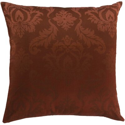 Brownsburg Damask Cotton Throw Pillow Size: 18 H x 18 W x 4 D, Color: Brown, Filler: Down