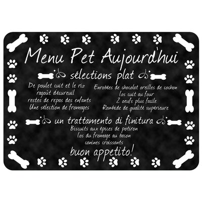 Swofford French Pet Bistro Menu Kitchen Mat Mat Size: Rectangle 110 x 27