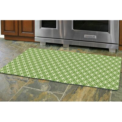 Swofford Circle Bloom Kitchen Mat Mat Size: 22 x 52, Color: Lime