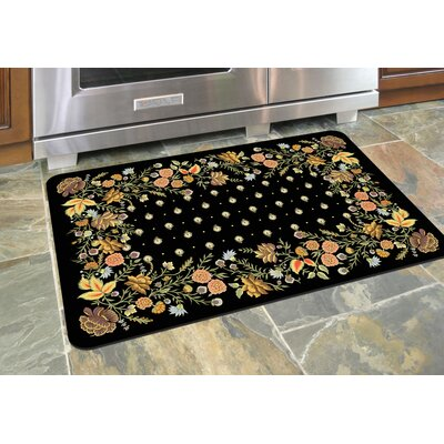 Swofford Floral Kitchen Mat Color: Onyx