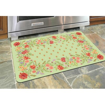 Swofford Floral Kitchen Mat Color: Sage