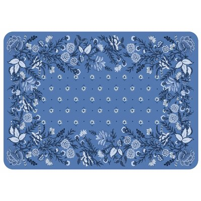 Swofford Nature/Floral Kitchen Mat Color: Azure