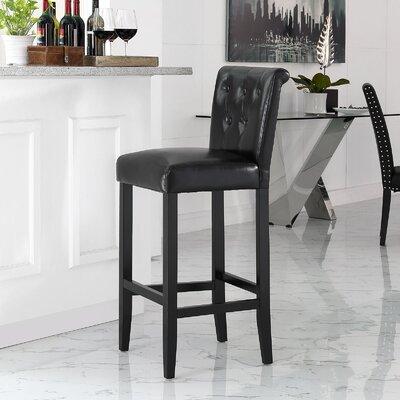 Abbate 31 Bar Stool Upholstery: Black