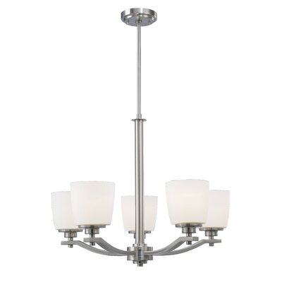 Benfield 5-Light Shaded Chandelier Finish: Brushed Nickel