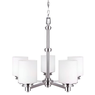Slocumb 5-Light Shaded Chandelier Finish: Brushed Nickel