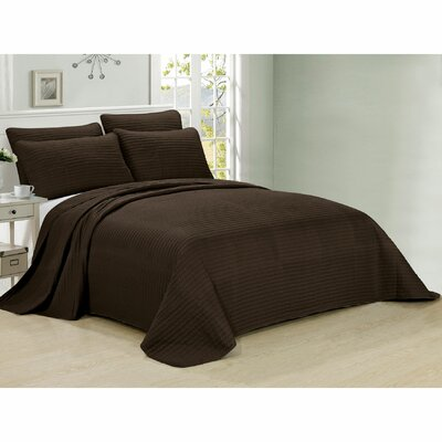 Berkeley 5 Piece Quilt Set Color: Chocolate, Size: King