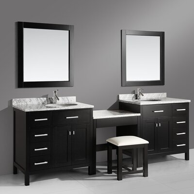 Middletown 102 Double Bathroom Vanity Set with Mirror Base Finish: Espresso