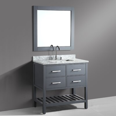 Middletown 36 Single Bathroom Vanity Set with Mirror Base Finish: Gray