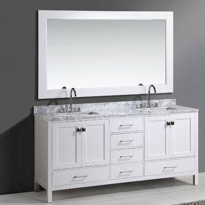 Middletown 72 Double Bathroom Vanity Set with Mirror Base Finish: White