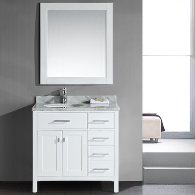 Halcomb 36 Single Bathroom Vanity Set with Mirror Base Finish: White
