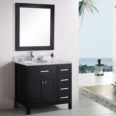 Middletown 36 Single Bathroom Vanity Set with Mirror Base Finish: Black