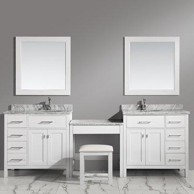 Halcomb 102 Double Bathroom Vanity Set with Mirror Base Finish: White