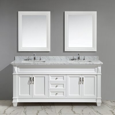 Halcomb 72 Double Bathroom Vanity Set with Mirror