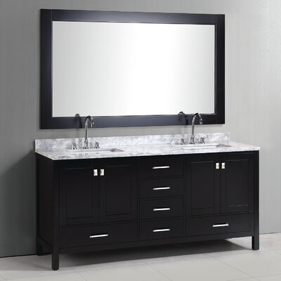 Middletown 72 Double Bathroom Vanity Set with Mirror Base Finish: Espresso