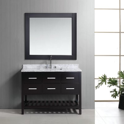 Halcomb 48 Single Bathroom Vanity Set with Mirror Base Finish: Espresso