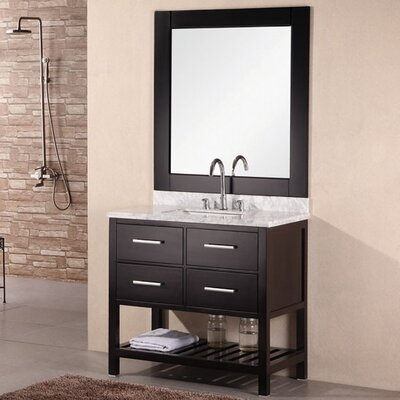 Middletown 36 Single Bathroom Vanity Set with Mirror Base Finish: Espresso