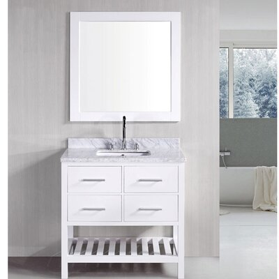 Middletown 36 Single Bathroom Vanity Set with Mirror Base Finish: White