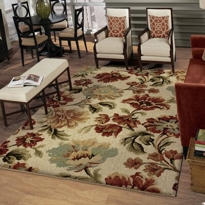 Brundidge Garden Bliss Beige/Red Area Rug