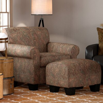 Raven Armchair and Ottoman Upholstery: Brown / Orange