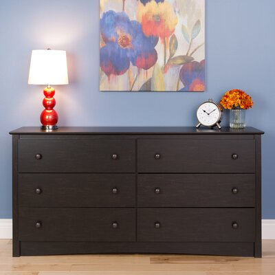 Yards 6 Drawer Dresser Finish: Washed Black