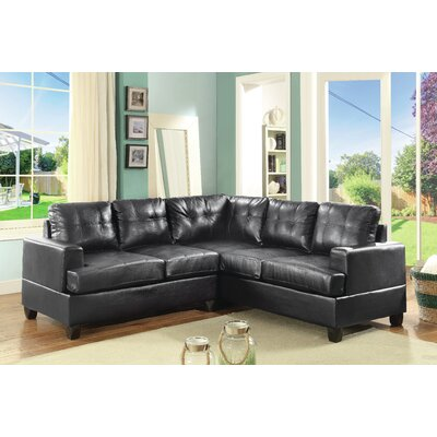 Adamsburg Reversible Chaise Sectional Upholstery: Black