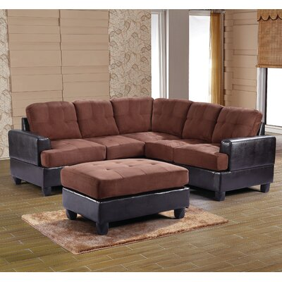 Adamsburg Reversible Chaise Sectional Upholstery: Chocolate Suede