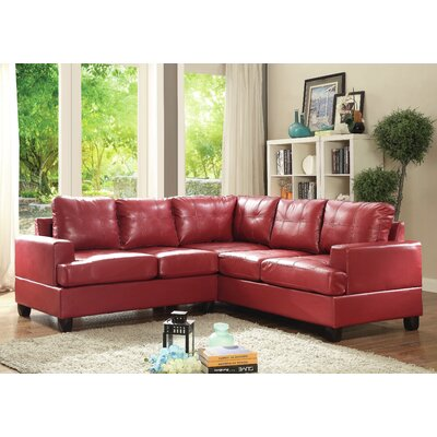 Adamsburg Reversible Chaise Sectional Upholstery: Red