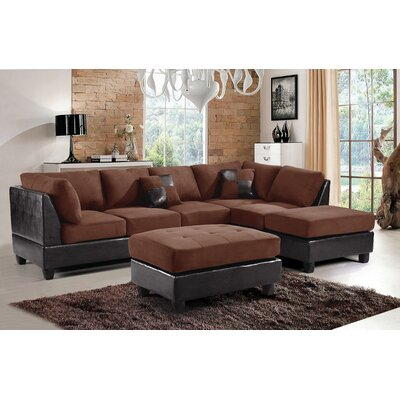 Adamsburg Reversible Chaise Sectional Upholstery: Chocolate