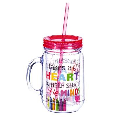 Branford Big Heart Plastic Mason Jar RDBL3574 37605124
