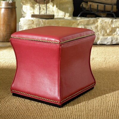 Bohannon Leather Storage Ottoman Color: Red