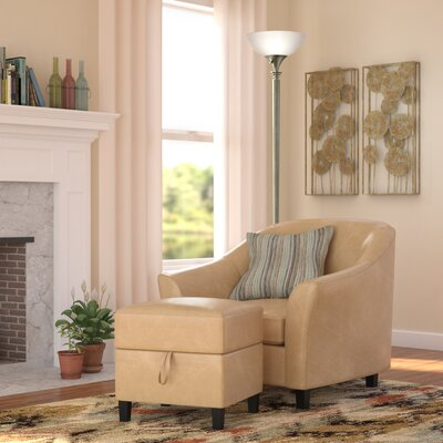 Lone Peak Club Chair And Ottoman Upholstery: Caramel