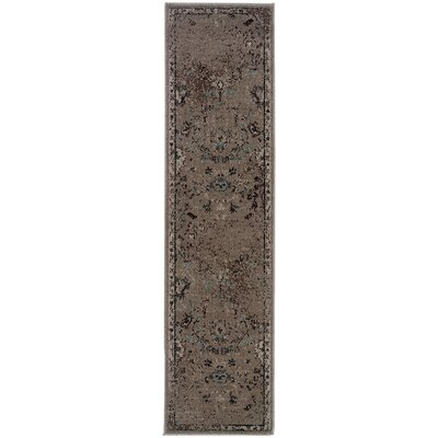 Savoy Gray/Black Area Rug Rug Size: Runner 110 x 76