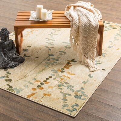 Ayers Village Trailing Vines Beige Area Rug Rug Size: Rectangle 76 x 10