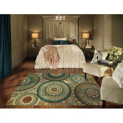 Bergen Forest Suzani Cream/Brown/Tan Area Rug Rug Size: Set 5 x 8