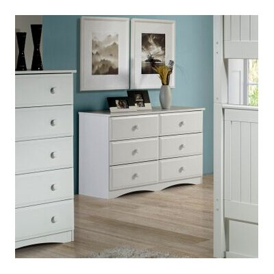 Aster 6 Drawer Double Dresser Color: White