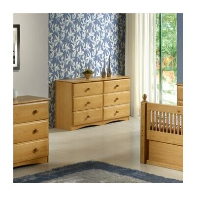 Aster 6 Drawer Double Dresser Finish: Natural