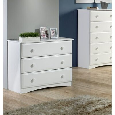 Aster 3 Drawer Dresser Color: White