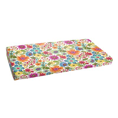 Budron Floral Indoor/Outdoor Bench Cushion Size: 3 H x 48 W x 19 D