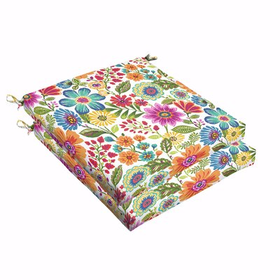 Budron Floral Indoor/Outdoor Dining Chair Cushion Size: 2.5 H x 19 W x 19 D