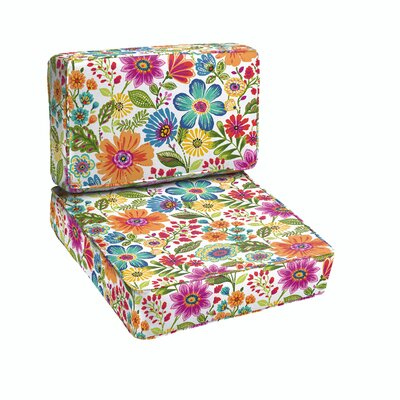 Budron Floral Piped Indoor/Outdoor Dining Chair Cushion