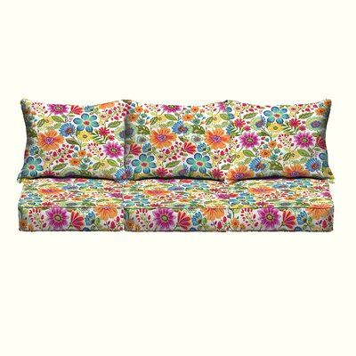 Budron Floral Piped Indoor/Outdoor Sofa Cushion