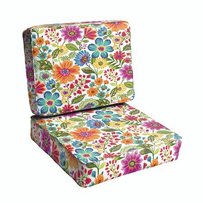 Paxton Chic Floral Piped Indoor/Outdoor Dining Chair Cushion