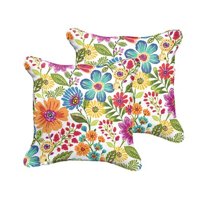 Budron Floral Piped Indoor/Outdoor Throw Pillow Size: 18 H x 18 W x 6 D