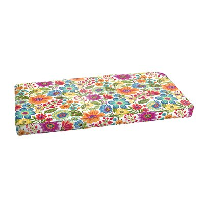 Budron Floral Piped Indoor/Outdoor Bench Cushion Size: 3 H x 60 W x 19 D