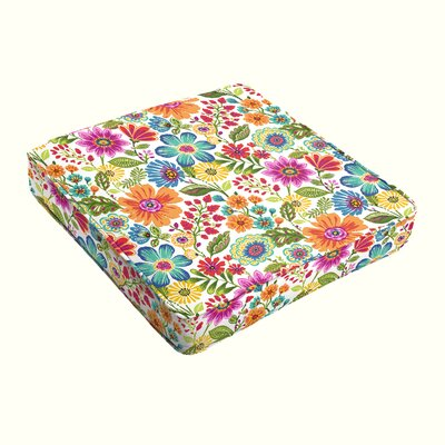 Budron Floral Piped Indoor/Outdoor Dining Chair Cushion Size: 3 H x 19 W x 19 D