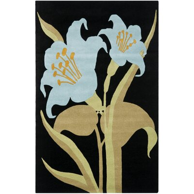 Bartlet Black / Blue Rug Rug Size: Rectangle 36 x 56