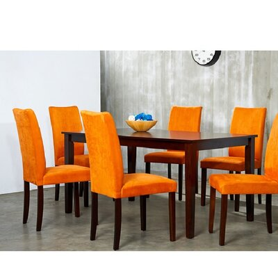 Evendale 7 Piece Dining Furniture Set Chair Finish: Orange