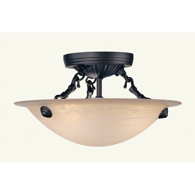 Everett Semi Flush Mount in Bronze Size: 8 H x 20 W x 20 D