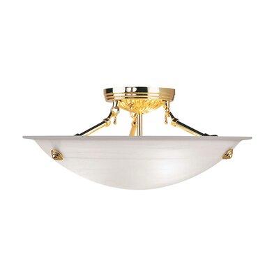 Everett Light Semi Flush Mount in Polished Brass Size: 7 H x 16 W x 16 D