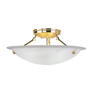 Everett Light Semi Flush Mount in Polished Brass Size: 8 H x 20 W x 20 D